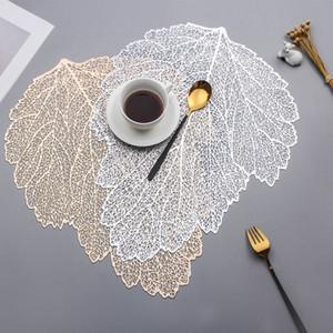 Placemat Tavolo da pranzo Sottobicchieri Simulazione della foglia Pianta PVC Tazza di caffè Tappetino tappetini Hollow Kitchen Christmas Home Decor Gifts VTKY2145