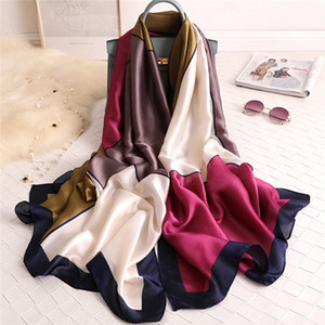 Spring and summer 180*90cm decorative scarf women fashion trend decorative shawl color matching travel sunscreen silk scarf beach towel