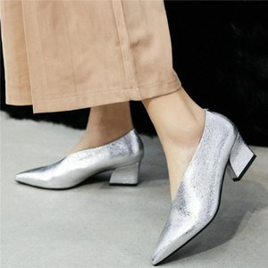 Chic Mary Jane Shoes Women Genuine Leather Kitten Heels Ankle Boots Female Low Top Pointed Toe Party Pumps Shoes Casual ZkWA#