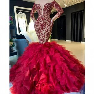 Arabic Aso Ebi Luxurious Red Prom Dresses Lace Beaded Mermaid Evening Gowns Tulle Formal Party Second Reception Gowns Robes De Soiree AL7359