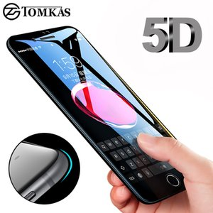 TOMKAS 5D Edge Tempered Glass For iPhone 7 8 Plus Full Cover Round Screen Protector Protective For iPhone 6 7 Plus X Glass