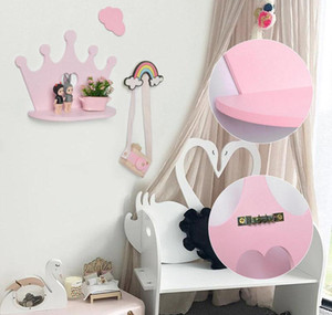Pink Wooden Crown Wall Shelf For Princess Room Daughter Girls Room Decoration Best Gift Nurse bbyHce packing2010