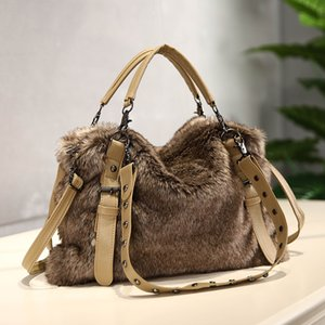Мода мех женская сумка плюшевые 2020 новая осень и зимняя подражание кролика волос плечо для женщин женская роскошь сумка Q1230