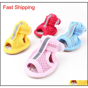 Brand Summer Winter Protective Pet Shoes For Small Medium Big Dogs Cats Waterproof Breathable Mesh Booties Socks Boots Sandal Set Ej0Pw