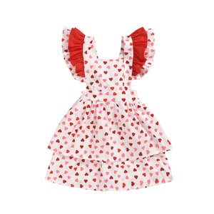 Wholesale INS New 1-5 Years Kids Girls Dress Valentine Day Toddler Girls Clothes Kid Ruffle Love Dress For Girls Summer Party Sundress