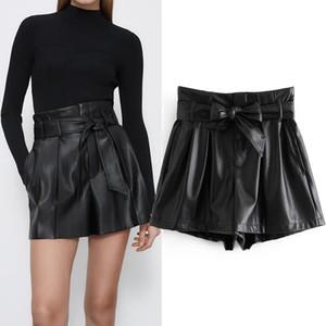 Pseewe ZA Black Winted Waisted Faux Leather Shorts Mulheres 2020 Vintage A-Line Wide Leg Winter Shorts Senhoras elegantes Calças curtas Q0104