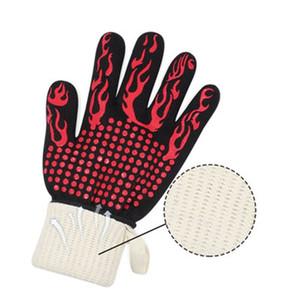 Grillhandschuhe BBQ Hochtemperaturbeständigkeit Mikrowellenherd Brandschutzflammschutzhandschuhstreifen Pfeil Kitchenschutz 13LL H1