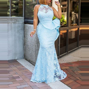 Sky Blue Aso Ebi Mermaid Prom Dresses With Lace Appliques Halter Neck Peplum Mermaid Evening Gowns African Black Girls Party Dress Vestidos