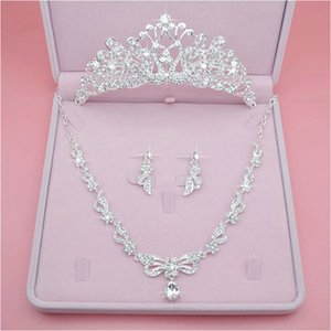 Best Selling Bride Crown Tiara Send Box Three-piece Accessory Accessories Wedding Fashion Rhinestones Headdress Earrings Necklace Wedding