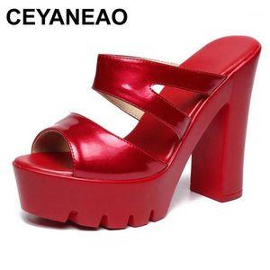 Ceyaneao New2020 Platform Women High Tacchi alti Peep Toe Slingback Lady Pantofole in pelle verniciata Mulos Pompe Donne Pompe Sandali1