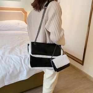 Venta caliente mujeres de lana del bolso del bolso y el monedero 2020 Nueva felpa retro cadena de Crossbody del bolso del mensajero de moda