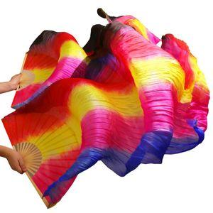 100% Silk Fans 1 Pair Handmade Dyed Silk Belly Dance Fans Vertical Stripes Dance Props Blue+Rose+Yellow+Red+Black 180x90cm