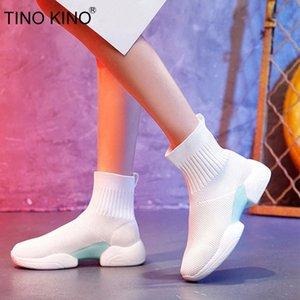 Tino Kino Sock Botas Mulheres Malha Torrado Botas Flats Senhoras Plataforma Respirável Conforto Casual Autumn New Feminino Sneakers 2020 # TC4K