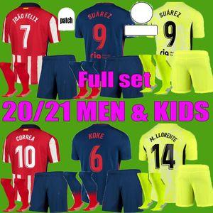 Joao Felix Atletico Suarez Madrid Soccer Jerseys 2020 2021 Saul Camisetas 20 21 Llorente Correa Football Shirt Men Kit Kit Kit de niños Juego completo Uniforme