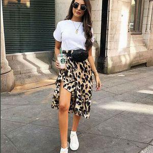 Leopard Skirt Women Fashion Sexy Wrap Over Asymmetrical Calf Length Skirt Ladies Casual High Waist Slim Skirts Sundress