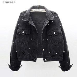 Noir Vintage oversize courtes femmes Jeans Veste avec des diamants Perles 2020 Printemps Streetwear Femme Denim casaque Outwear