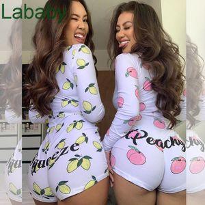 Сексуальные женские комбинезоны AMP Rompers с длинным рукавом и мини-шорты Комбинезон V-образным вырезом Характер Тонкий мода Печать боди Горячая распродажа