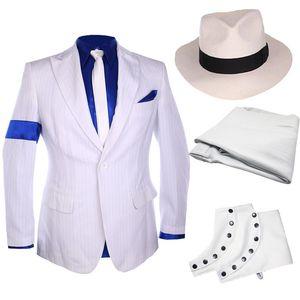 Classic MJ Michael Jackson Smooth Criminal Stripe Suit Jacket Blazer Full Set For Fans Party Show Imitation Customize Gift W1217