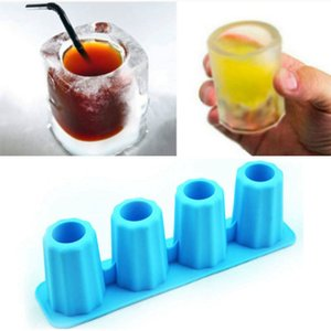 Food Grade 3D Ice Cube Mold Creative Freeze 4 Cell Long Cups Mould Novelty Gifts Tray Summer Party Kitchen Bar Drinkware Accessory DHB1680