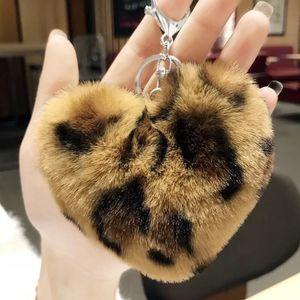 Cute Faux Rabbit Fur Keychains Leopard Plush Heart Key Chains Car Keyring Holder Charm Bag Pendant Gifts
