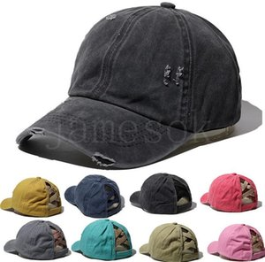 New Style Washed Ponytail Hat Cross Criss Baseball Cap Worn Out Cap Ponytail Hats Party Hats DB419
