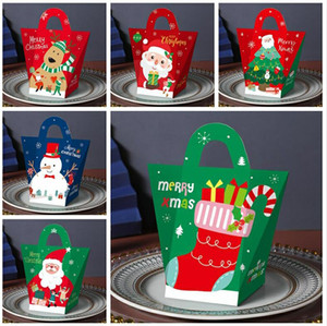 Creative Christmas Eve Gift Boxes Carry Bags Xmas Candy Box Santa Claus Paper Gift Boxes Design Printed Packing Box Decoration KKB2719