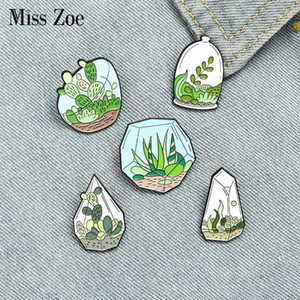Punti in vaso Punti smaltati Pins Personalizzato Cactus di terrarium Aloe Spille Borsa Abbigliamento Bavero Pin Verde Plant Badge Badge Regalo per gli amici1