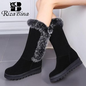 Rizabina Neue Frauen Mid Calf Boots Plüsch Pelz Warme Frauen Schneeschuhe Mode Kühle Winterschuhe Tägliche Schuhe Größe 34-431