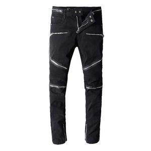 Hot Sale Fashion Designer Jeans Mens Ripped Biker Jeans Patchwork Slim Fit Black Moto Denim Joggers For Male Distressed Jeans Pants