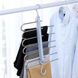 Multifunctional Folding Trouser Rack Trouser Clip Household Hanger Trousers Hook Rack Multi-layer Magic Storage Rack DHL Free