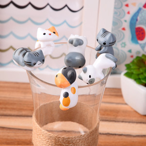 Cartoon cup edge children's toy cake decoration doll 6pcs set different style cat