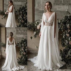 2020 Boho Beach Wedding Dresses A Line V Neck Sleeveless Sweep Train Bridal Gowns With Applique Chiffon Backless Plus Size Wedding Gowns