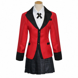 Fresco caliente Cosplay Anime Kakegurui Yumeko Jabami Japanese School Girls conjunto uniforme completo de la chaqueta + camisa + falda + Medias + Tie K48n #