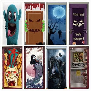Latest Halloween Door Sticker Wallpaper 3D Funny Scary Bloody Festival Renovation Self-adhesive Wall Decals for Doors Home Decor