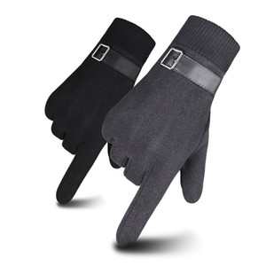 Men Winter Gloves Screen Touch Gloves Warm Gloves Full Finger Glove Fashion Plush Inside Glove Casual Solid Wrist Mittens OWD2112