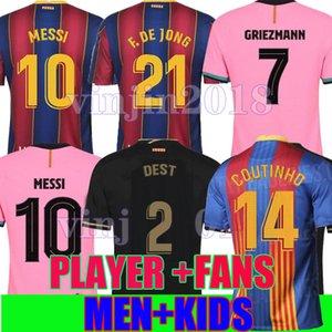 Spielerversion Barcelona Vierter Fußball-Trikots 20 21 Camiseta de Futbol 2020 2021 Messi Ansu Fati Griezmann de Jong Coutinho Dest Kid Hemden