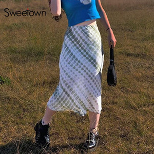 Sweetown Sweety Girls' Plaid Tie Dye Midi Skirt Woman Preppy Style Cute Kawaii Clothes High Waist Y2K Fashion 90s Boho Skirts