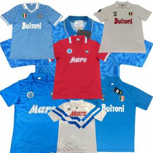 레트로 클래식 1986 1987 1988 1989 1991 1992 1993 Napoli Soccer Jersey 87/88/89 91/93 Maradona 축구 스포츠 셔츠 S-2XL