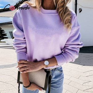 Conmoto Solid color round neck women's sweatshirt Casual loose women's sweatshirt Dropped shoulder sleeve comfortable sweatshirt 201008