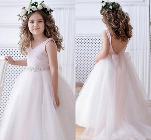 Blush Pink Open Back Flower Girl Dresses Sparkly Long Girl Formal Wedding Dress Kids Party Birthday Pageant Gown