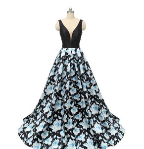 2020 Sexy Printed Flower Prom Dresses Evening Gowns V Neck Sleeveless Backless A Line Ball Gown Long Formal Party Dress