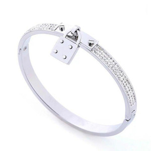 Top Quality Designer Jewelry For Women Bracelets Stainless Steel Cuff Bracelet Pave Silver Rose Gold Tone Charms Lock Bangle Jewelry