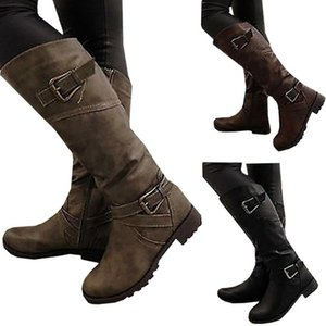 2020 new autumn winter leather boots for women.Flat heel round toe large size 35-43 belt buckle casual boots for ladies
