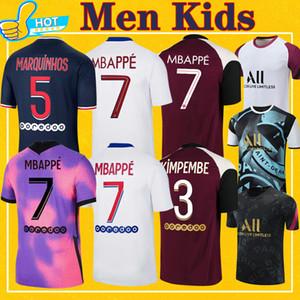 PSG Mbappe Verratti Kean Soccer Jersey 2020 2021 di Maria Kimpembe Marquinhos Icardi Camisa de fútbol de Partido de Partido 20 21 Hombres + Kit Kids
