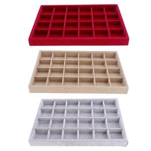 Moda Portátil Velvet Apilable 24 Grid Jewelry Tray Showcase Pantalla Organizador Anillo Holder Caja de almacenamiento