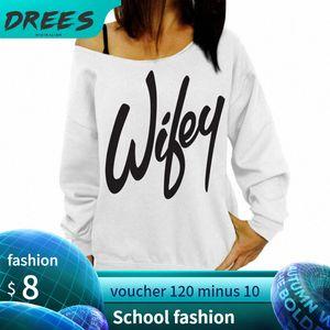 Femmes Sweatshirts Sweats Sweats Sudadera Pullovers Amis à capuche Femme Jogger Sweat-shirt Top Off Epaule Hiver Lettre à capuche SJ2R #
