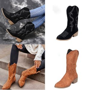 Fashion Women's Heel Mid Calf Boots Ladies Half Boots Casual Zipper Boot Chunky Heels Shoes Size35-43