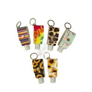 30ML Hand Sanitizer Bottle Bag Cover Sleeves PU Leopard Sunflowers Key Chain Holder Pendent Hand Sanitizer Bottle Cover Key Ring New D92103