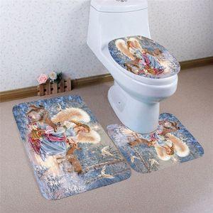 Nuevo diseño Cuarto de baño Pedestal Tapa Tapa Tapa de inodoro + estera de baño Set Navidad DrCor Drop Shipping 71016