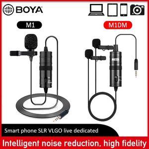 BOYA Mini BY-M1 M1DM Clip-on Lavalier Audio Microphone 3.5mm Collar Condenser Lapel Mic for recording Canon DSLR Cameras1
